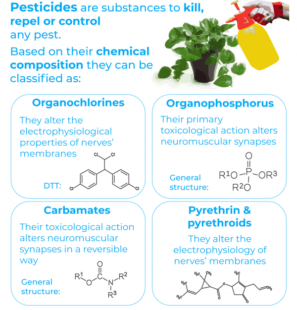 pesticides kill, repel and control pests. There are four classes: organochlorines, organophosphates, carbamates and pyrethrins and pyrethroids